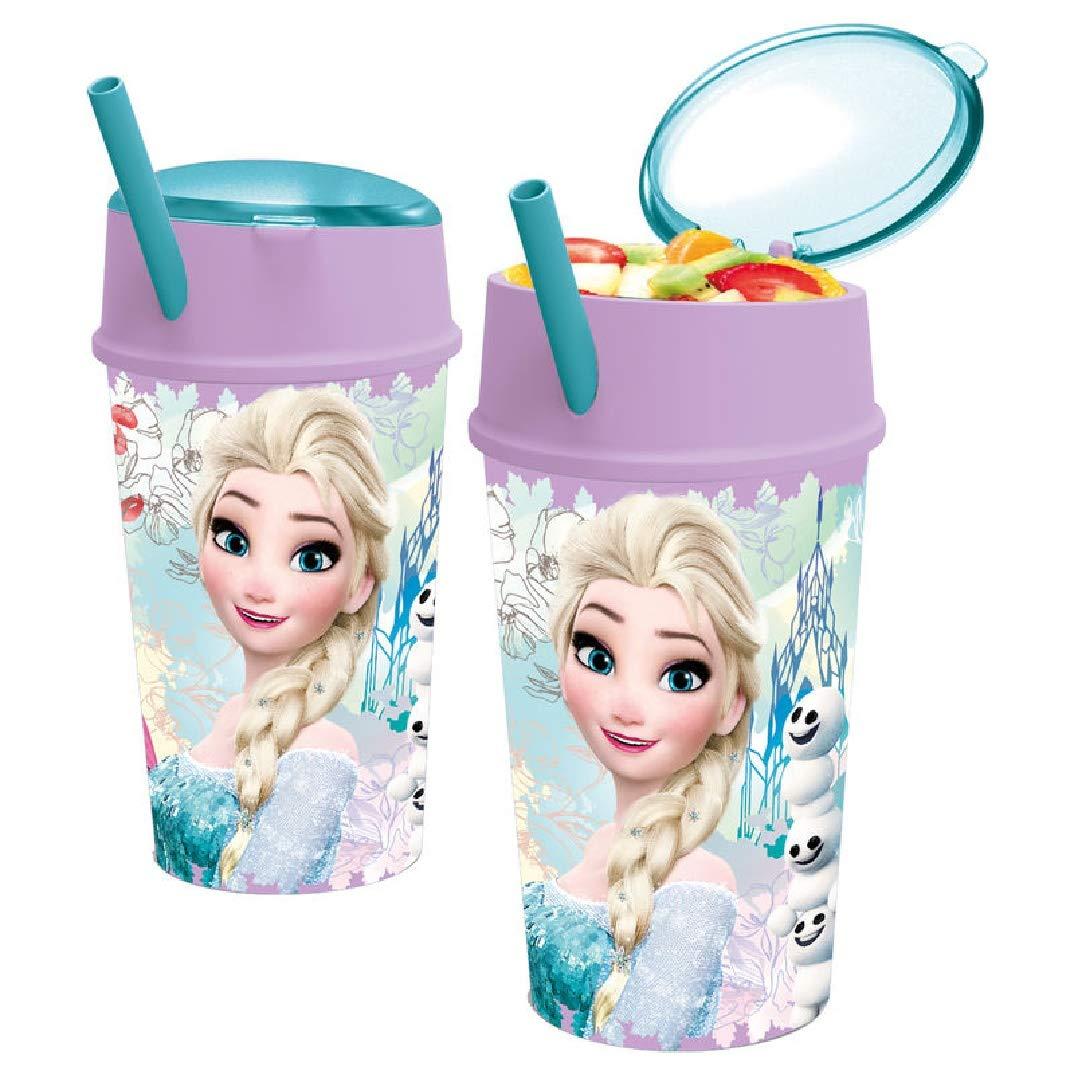 Frozen–Vaso Plastico con coperchio e cannuccia, tasca Snack 400ml, Stor 22801
