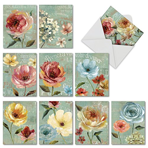 (All Occasion Greeting Card Set of 10 (with Envelopes), Assortment of 'Springtime in Paris' Note Cards (4'' x 5 ¼'') for Wedding, Baby, Thank You, Holiday)