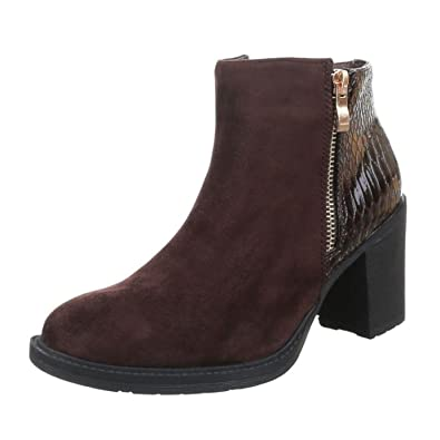 d2b43aa38c2e8e Damen Stiefelette Flache Sohle Blockabsatz Halbhohe Stiefel Damenschuhe  Boots Braun