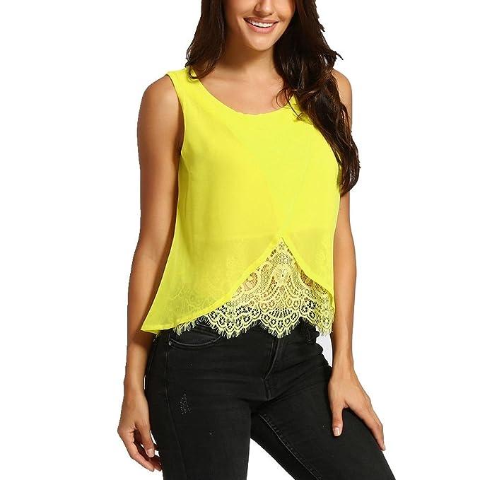 Ropa de Verano para Mujer Camisetas Sin Mangas Mujer ️️Blusa Camisas de Gasa Patchwork Encaje Camisetas
