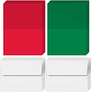 2021 Holiday Christmas Greeting Cards - 25 Red & 25 Green Blank Greeting Cards with 50 White Envelopes - Card Size 5x7 When Folded - Envelopes Size A7