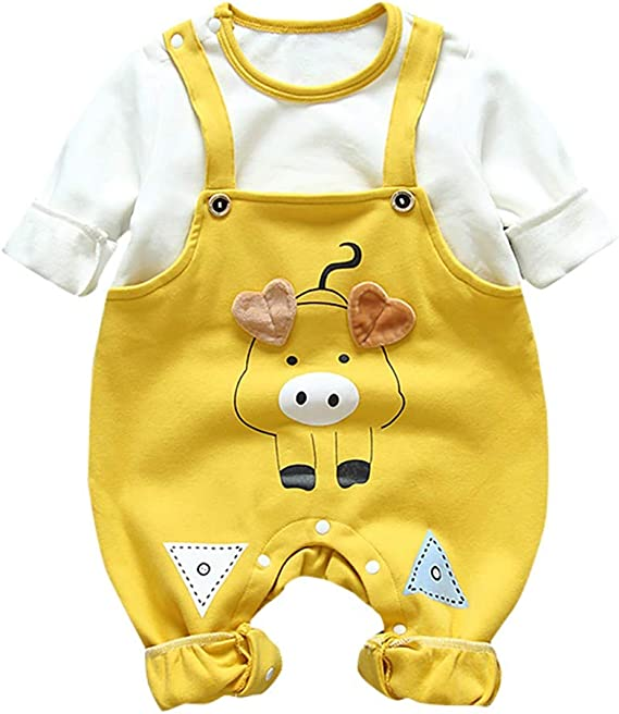 Baby Boys Girls Clothes Set Cartoon Hippo Print Rompers Sunsuit Toddler Kids Newborn Long Sleeve Jumpsuit+Hat Outfits