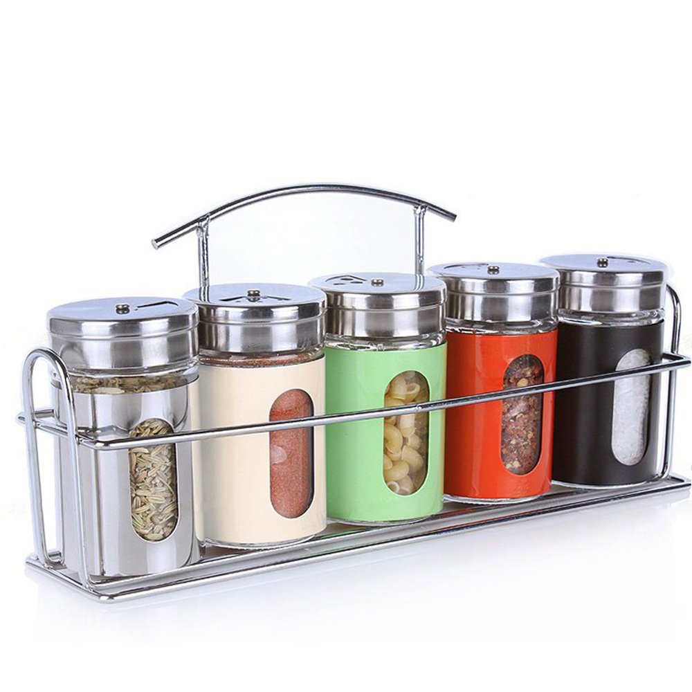 ETECHMART Salt and Pepper Shaker Set Seasoning Containers w/ Rack (Multicolor, Set of 5)