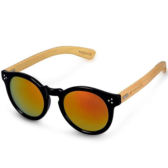 Navaris gafas de sol UV400 - Gafas de madera retro para hombre y mujer - Gafas de sol de madera unisex con estuche - Color negro y rojo