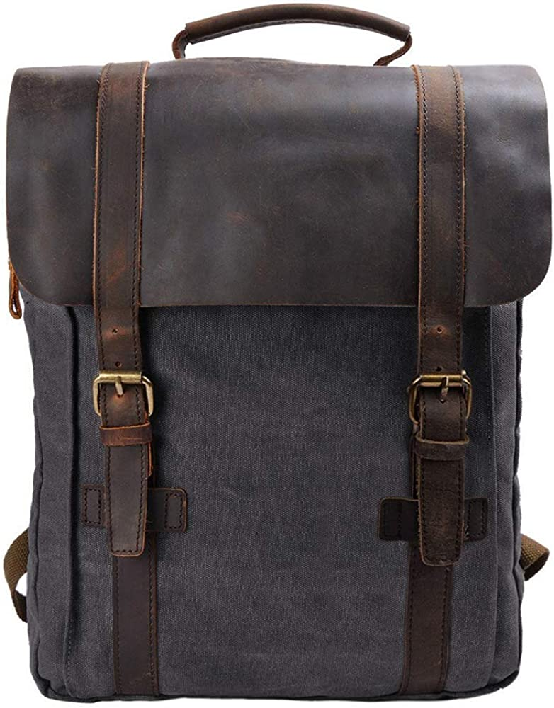 S-ZONE Vintage Canvas Leather Backpack 15.6 Inch Laptop School Bag Travel Rucksack