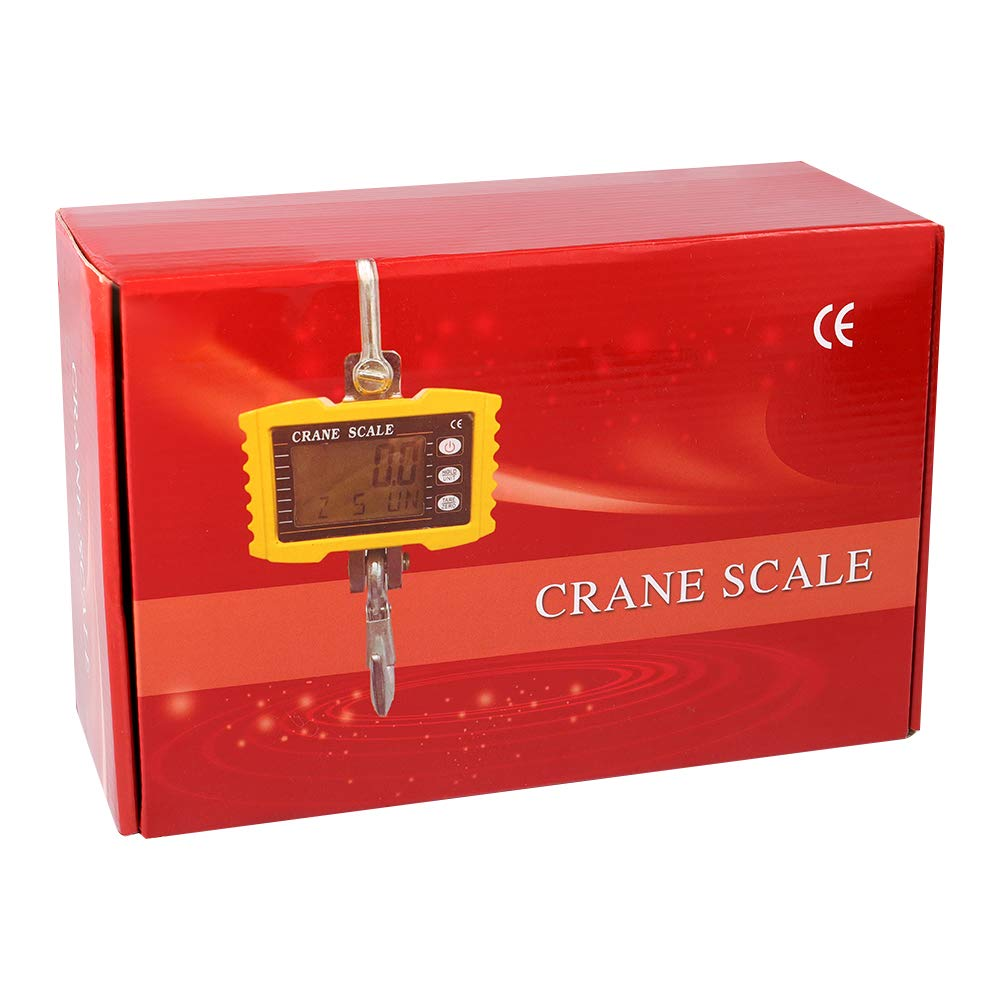 2200LBS 4YANG Heavy Industrial Hanging Scale with Remote Load 1000KG Orange Crane Scale Smart High Accuracy LCD Display Electronic Crane Scale