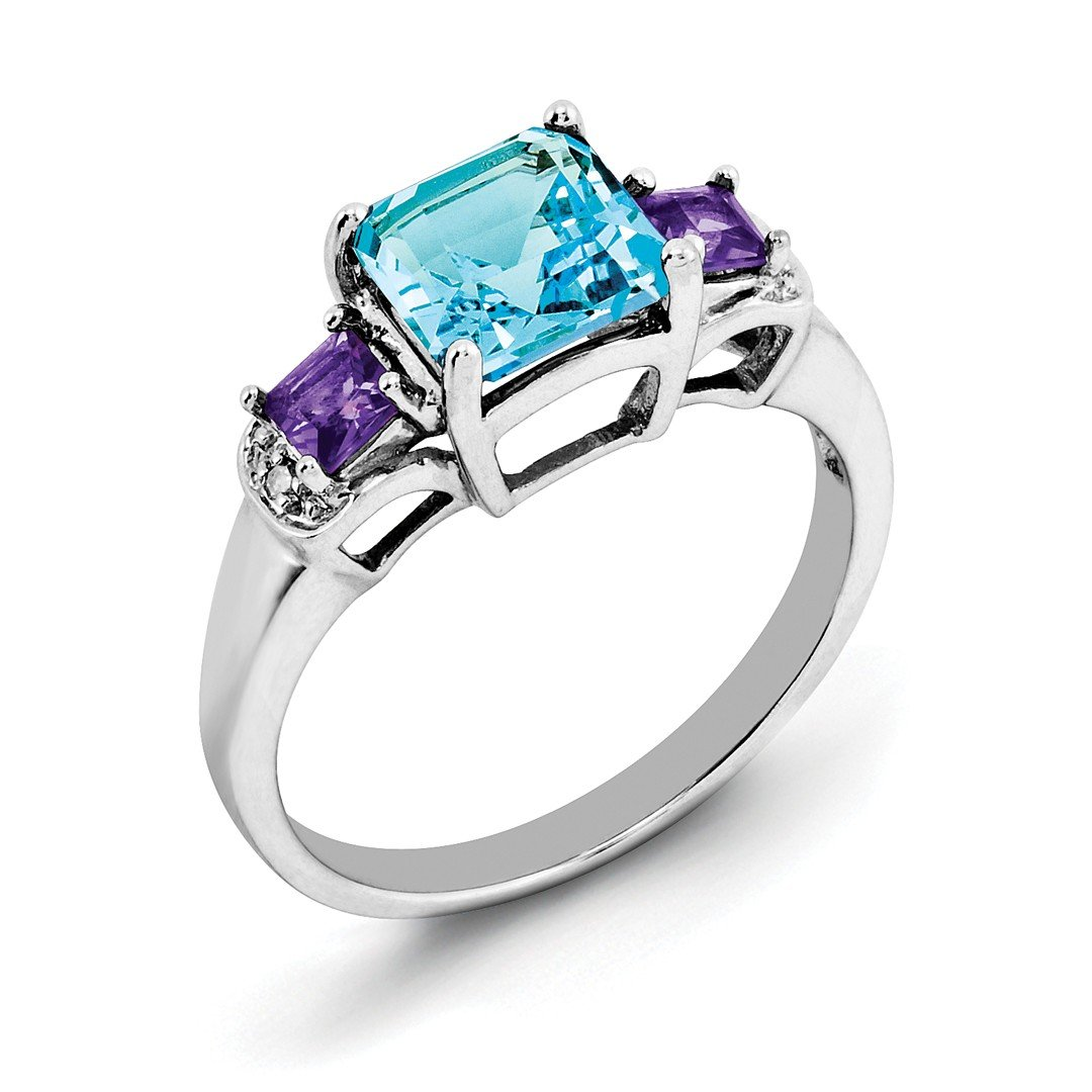 ICE CARATS 925 Sterling Silver London Blue Topaz Purple Amethyst Diamond Band Ring Size 7.00 Gemstone Fine Jewelry Gift Set For Women Heart