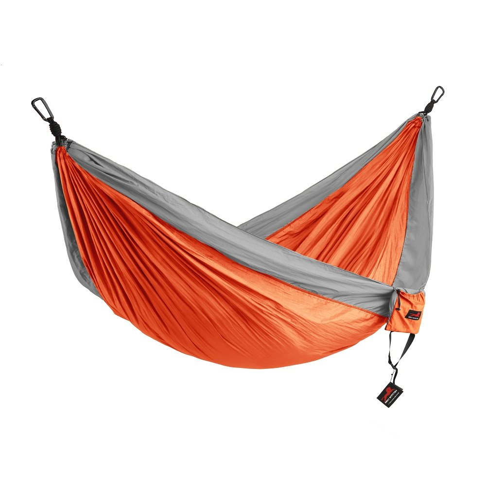HONEST OUTFITTERS Double Camping Hammock with Hammock Tree Straps,Portable Parachute Nylon Hammock for Backpacking Travel 118L x 78W Inches Orange Grey