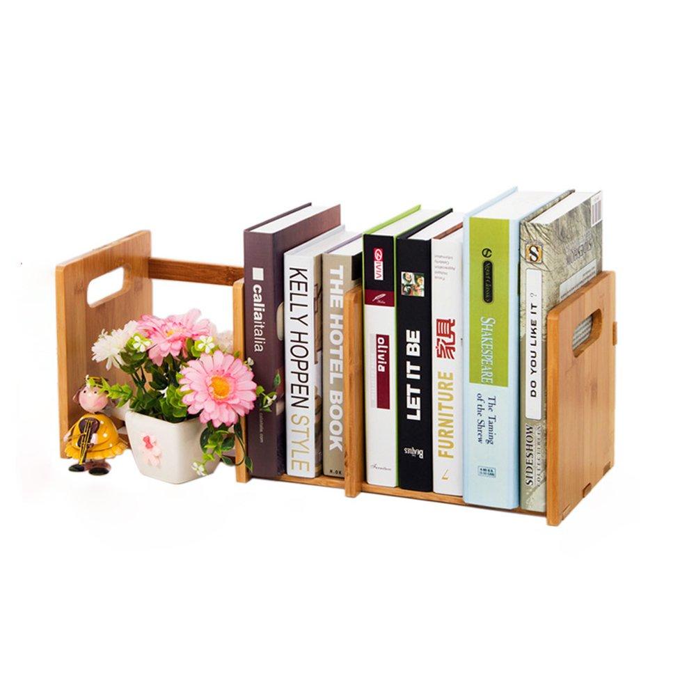 DIY Wooden Book shelf Storage Rack Office Desktop Organizer-Bamboo Desk Organiser Bookshelf For Office And Home, Natural Bamboo Expandable Adjustable Bookshelf (Size : L32-6018.520.5cm)
