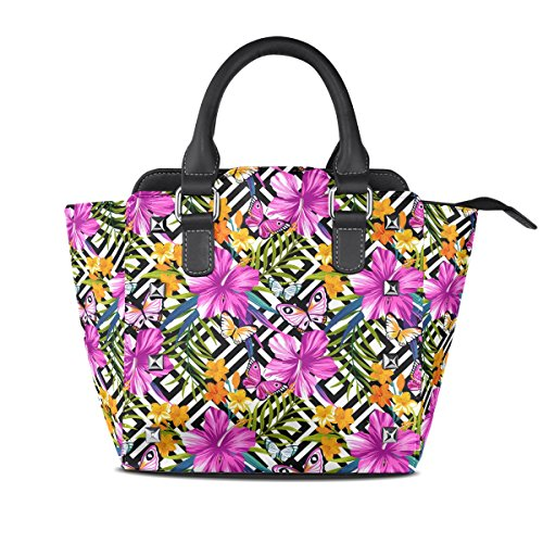 Coosun Butterflies And Flower Pattern Women Shoulder Bags Pu Leather Top Handle Tote Bag Crossbody Bag Middle Multicolor