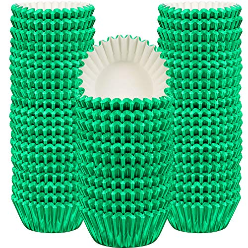 Sumind 400 Pieces Mini Cupcake Cup Liners, Foil Baking Cups, Foil Cupcake Liners for Baking Muffin and Cupcakes -