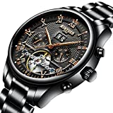 KINYUED Men's Wrist Watches Multifunctional Automatic Rose Gold Dial Waterproof Stainless Steel Band