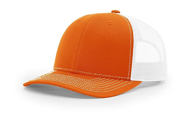 296ddd8dc28e8 Richardson Orange White 112 Mesh Back Trucker Cap Snapback Hat w THP ...