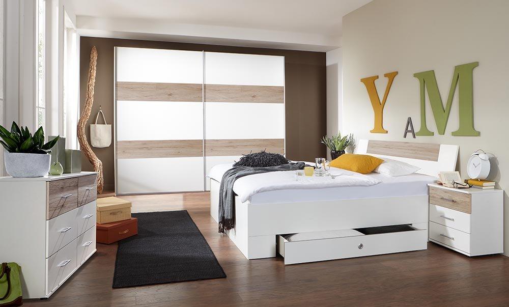 4-tlg-Schlafzimmer in Alpinweiß mit Abs. in San Remo-Eich-NB, Schwebetürenschrank B: 225 cm, Bett mit Schubkästen B: 180 cm, 2 Nachtschränke B: 52 cm