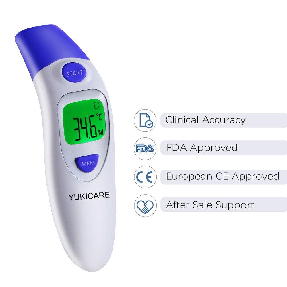 YUKICARE Termómetro Infrarrojo Digital con Funciones de Oído y Frente, Termómetros Médicos de Precisión para Bebés, Niños y Adultos - Certificado por la FDA ...