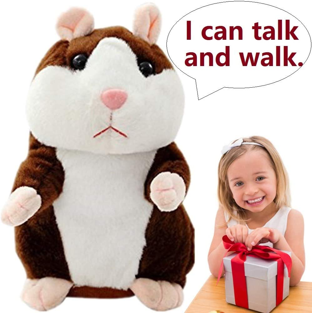 Upgrade Talking Hamster Mouse Toy, Repeats What You Say and Can Walk, Electronic Pet for Kids Gift Party Toys, Deep Brown