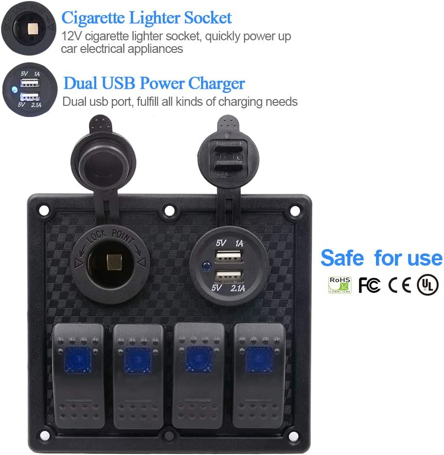NovelBee 4 Gang ON-Off Rocker Switch Panel with 12V Power Socket and Dual Port USB Socket for Marine Boat Car Truck