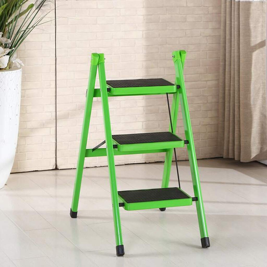 GREEN ASJHK Ladder Stool Real Step Stool Home Multi-Function Folding Stair Chair Stool Dual-use Indoor Ascend Three-Step Small Ladder Step Stool Footstool (color   RED)