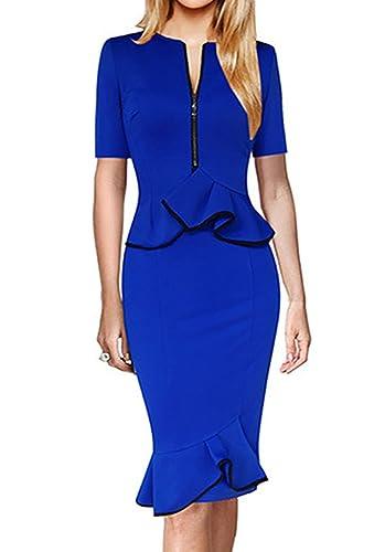 Yomoko Women's Short Sleeve Zipper Wear to Work Business Party Bodycon Pencil Dress