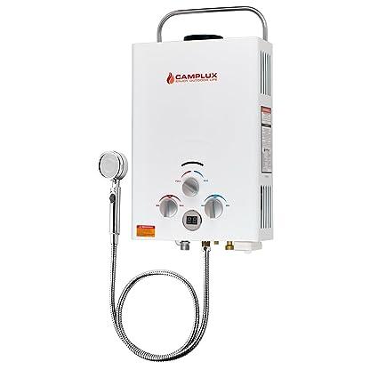 Camplux BW158 6L - Calentador de agua instantánea portátil para exteriores (propano, sin depósito