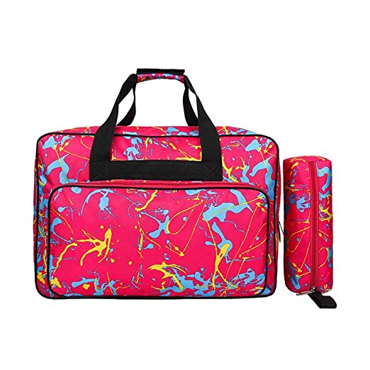 Bolsa para máquina de coser, bolsa de transporte universal de nailon, funda de almacenamiento acolchada universal con bolsillos y asas ...