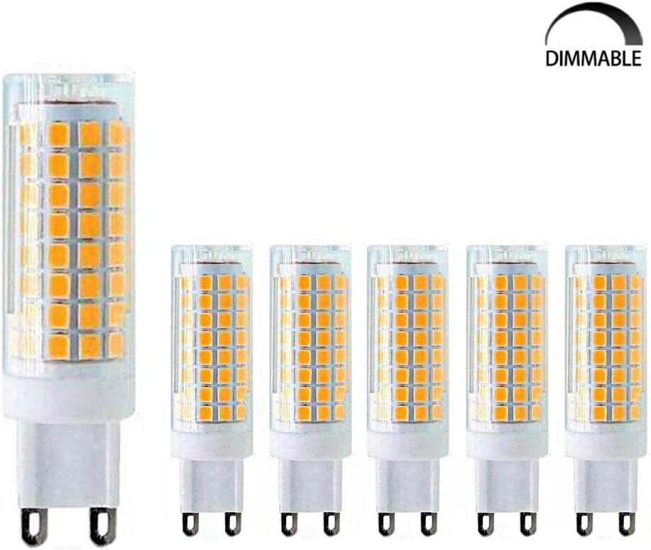 MD Lighting G9 LED Bulb 10W Dimmable LED Corn Light Bulbs(6 Pack)- G9 Ceramic Bulbs Replacement 100W Equivalent Halogen Bulbs 3000K Warm White G9 LED Bulbs for Home Lighting, Ceiling Fan, AC120V