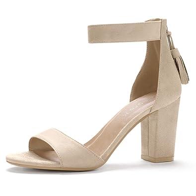 eab642bf21c342 Allegra K Women s Chunky High Heel Tassel Ankle Strap Beige Sandals - 5.5  ...