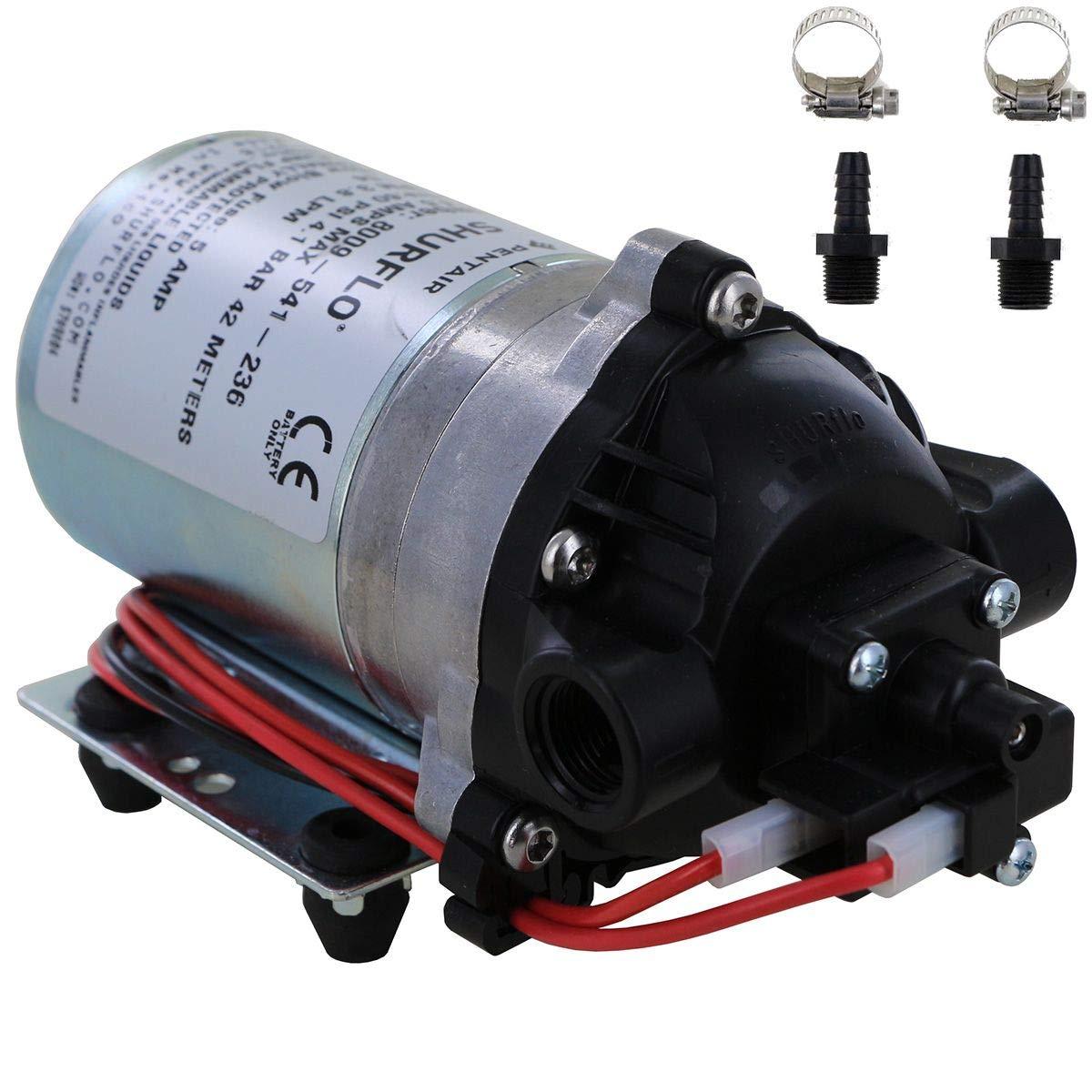Shurflo 8000-541-236 Automatic-Demand 12V Diaphragm Pump with Male 3/8'' Hose Barb Kit (Bundle, 2 Items)