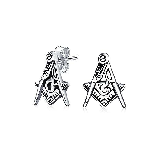 cerca autentico vendita a basso prezzo goditi il prezzo più basso Quadrato piccolo e bussola Masonic massone Orecchini per le ...