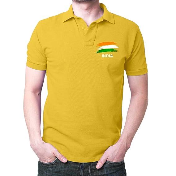 ea8e10795 Fashion And Youth Men s Cotton Indian Flag Logo Polo T-Shirt (Yellow
