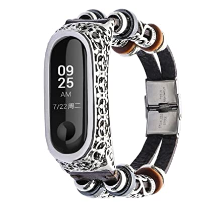 Amazon.com: Barthylomo Xiaomi Mi Band 3 Leather Wristband Band + ...