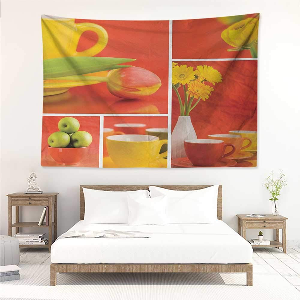 alisos Kitchen,Fabric Wall hangings Tea and Coffee Cups Composition in Warm Colors Flowers Tulips and Apples 60W x 51L inch Popular Tapesties Red Yellow Green
