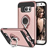Galaxy S7 Edge Case, Vofolen Galaxy S7 Edge Case Ring Holder Kickstand Rotational Clip Hybrid Defender Heavy Duty Armor Dual Layer Protective Hard Shell TPU Bumper Cover for Galaxy S7 Edge (Rose Gold)