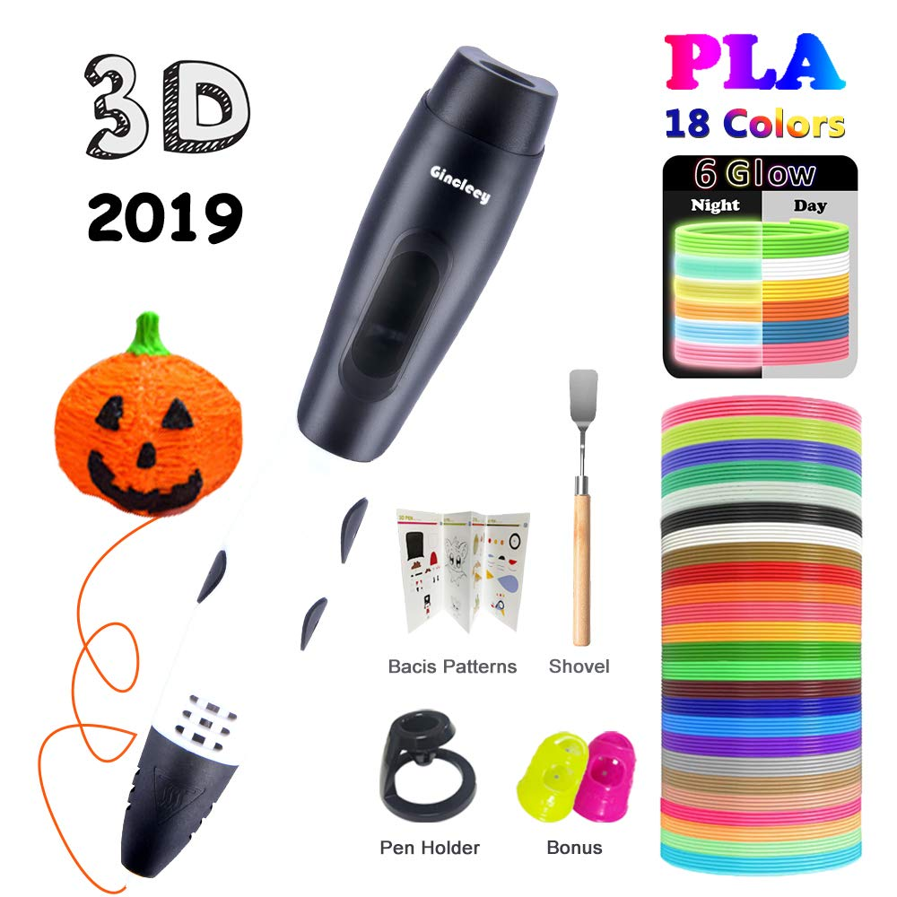 Gincleey 3D Pen,3D Printing Pen for Kids, 3D Drawing Pen with 18 Colors,6 Colors Glow,1.75mm PLA Filament Refills,Temperature Control,Non-Clogging and Easy to Use-White