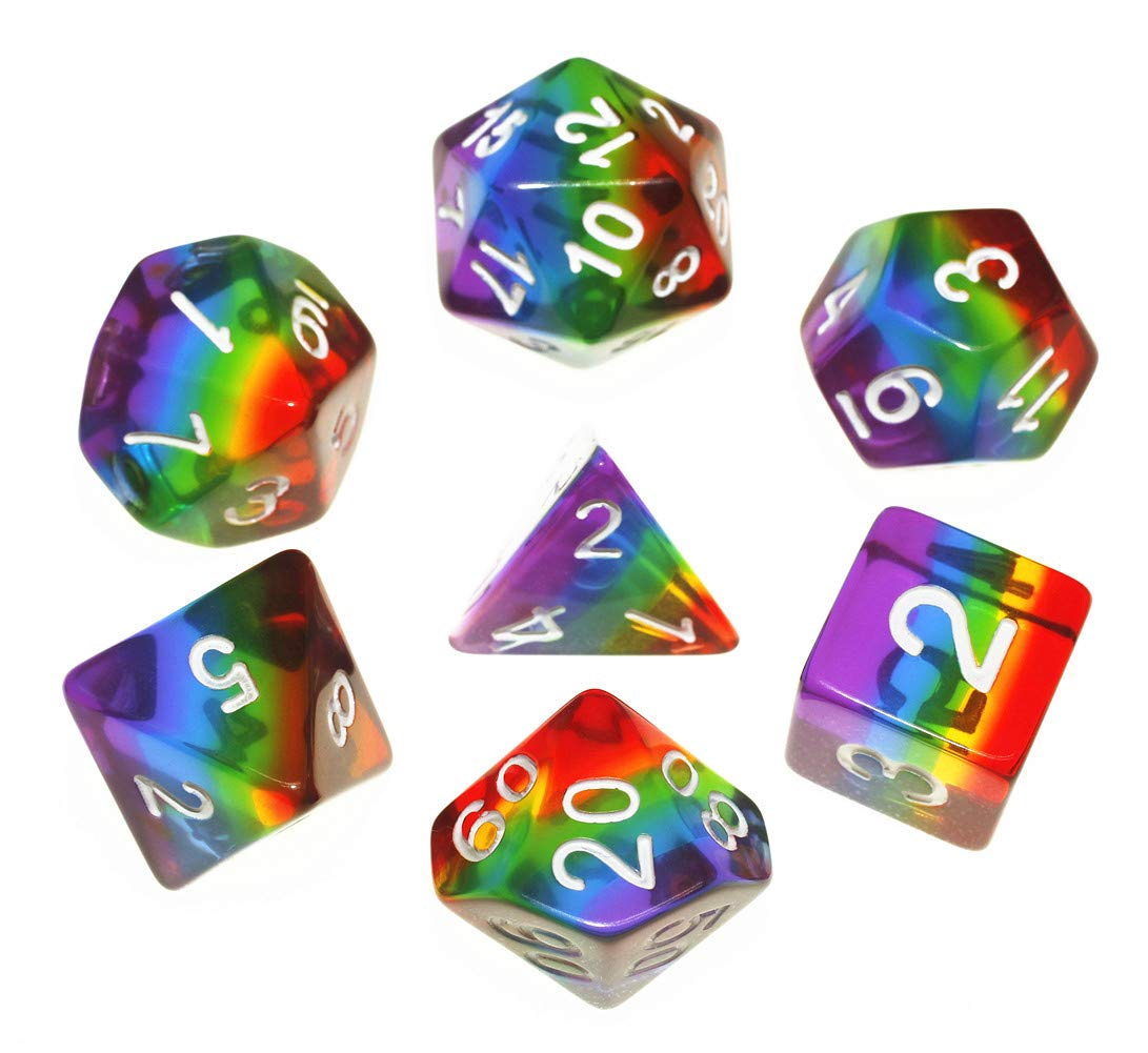 Polyhedral DND Dice Set Transparent Rainbow Dice Compatible Dungeons and Dragons Role Playing Game(RPG),MTG,Pathfinder,Table Game,Board Games Dice Set (Upgrade Rainbow) by HD