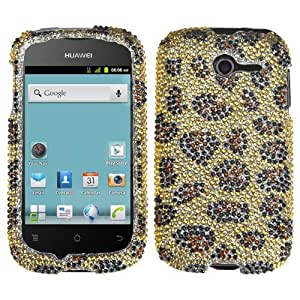 Brown Leopard Bling Gem Jeweled Crystal Cover Case for Huawei Mercury M886 X22R
