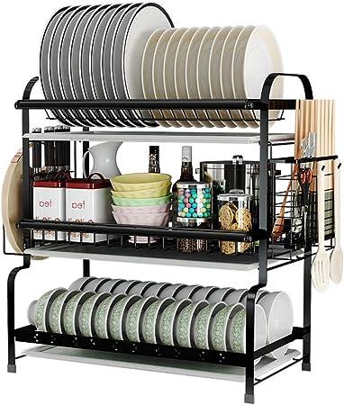 Rack de secado de platos de 3 niveles / 2 niveles Cromo Almacenamiento en la cocina, Secado rápido con escurridor, Secador de platos multifunción, Soporte de cubertería de gran capacidad de almacenami: