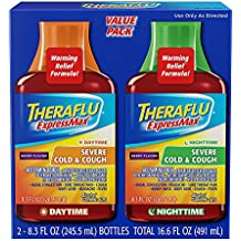 Theraflu ExpressMax Combo Daytime and Nighttime Syrup for Severe Cold and Cough, Berry Cough Syrup (8.3 ounces)