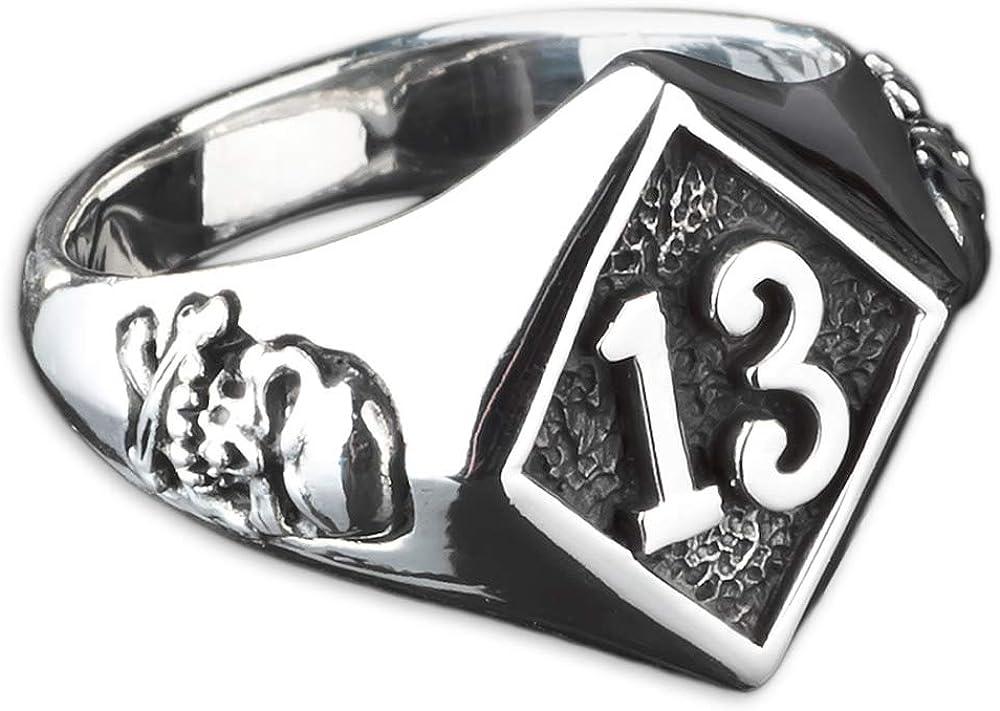 viva adorno Herren Ring Lucky Dreizehn 13 Totenkopf Skull Bones Siegelring Daumenring 925 Sterlingsilber SR23