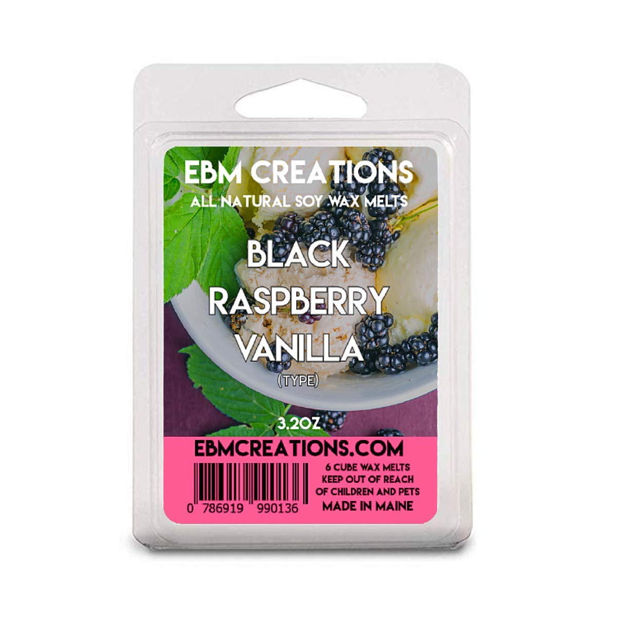 Black Raspberry Vanilla (Type) - Scented All Natural Soy Wax Melts - 6 Cube Clamshell 3.2oz Highly Scented!