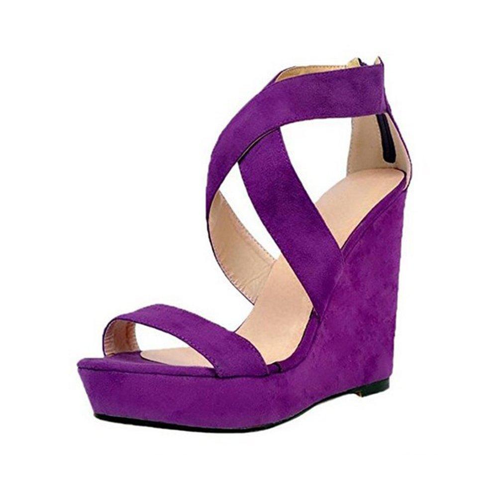 GUORZOM Frauen Wasserdichte Plattform Offene Zehe Keil Sandalen Kreuzgurt Kreuzgurt Kreuzgurt Reißverschluss Schuhe Tägliche Kleid Schuhe (Absatzhöhe 12 Cm)  432d0e