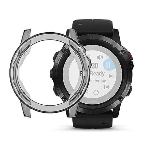 Caja Del Reloj, Chshe ™, Cubierta De La Caja Del Protector Del Reloj Inteligente Tpu Suave Ultradelgado Cristalino Suave para Garmin Fenix 5X(Gris)