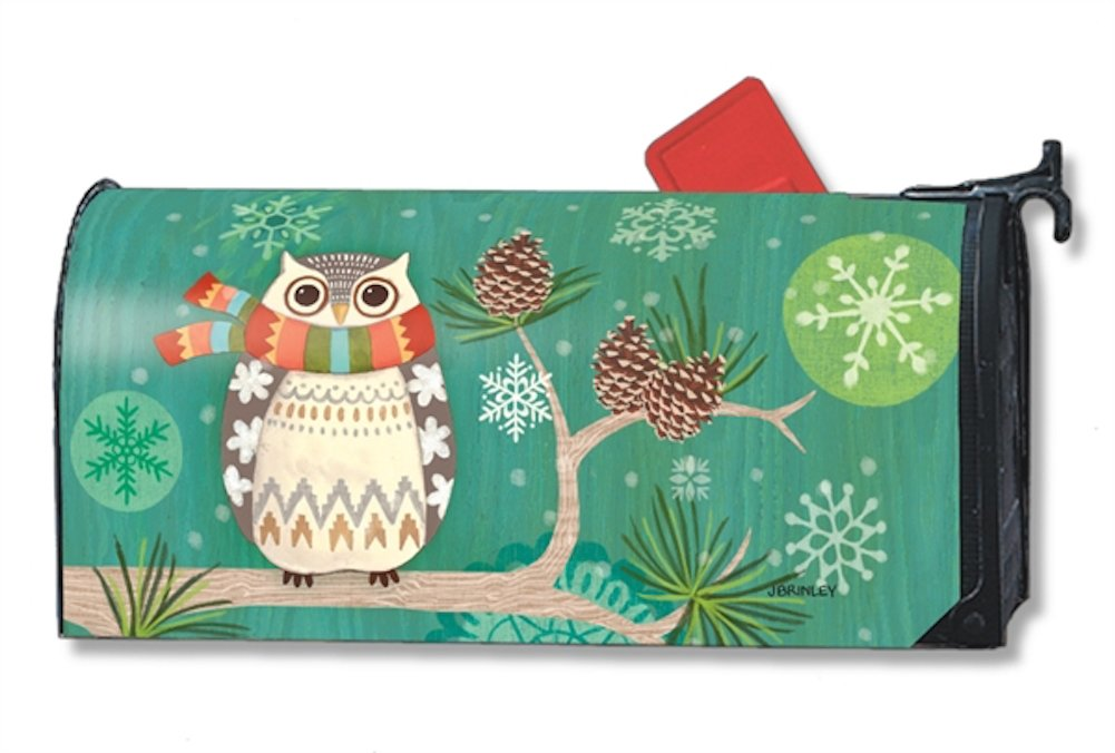 Winter Owl Primitive Large Magnetic Mailbox Cover Oversized MailWraps