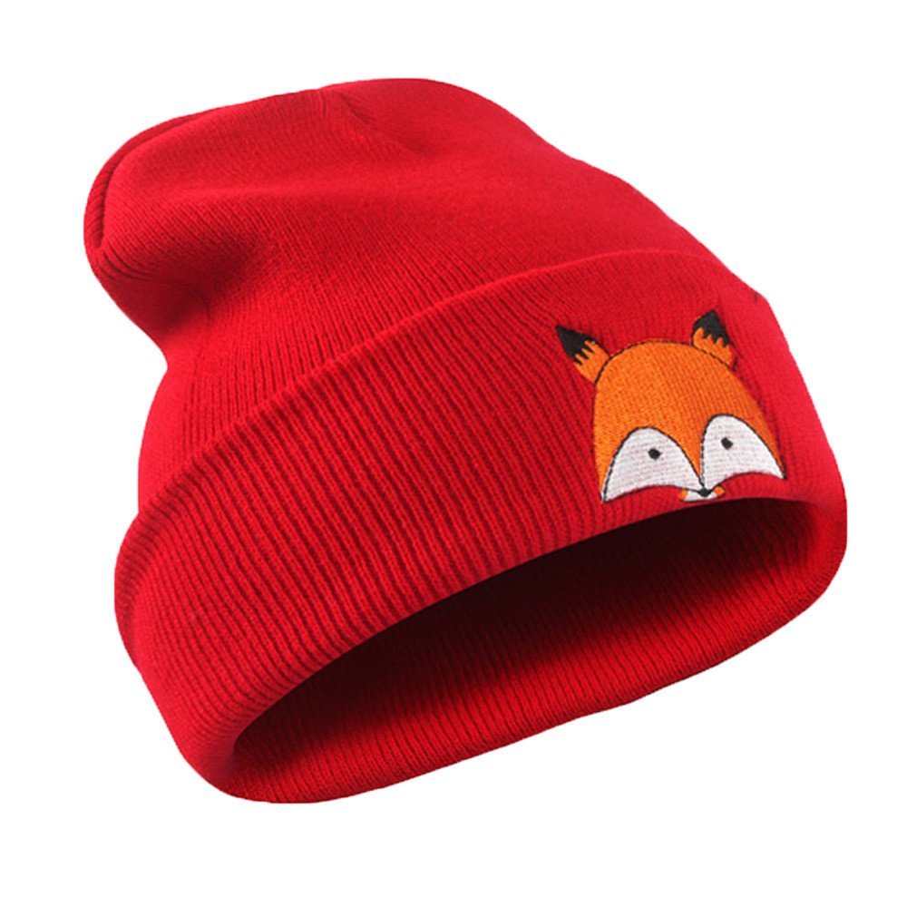 Clearance! Cute Fox Embroidery Pattern Hat Kids Soft Warm Hat Knitted Cap Hats for Toddler Baby Boys Girls (Black, Free) Challyhope