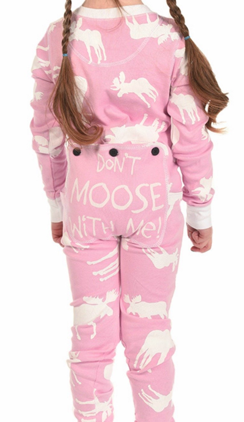 Pink Classic Moose Flapjack Toddler Union Suit Lazy One AW034848