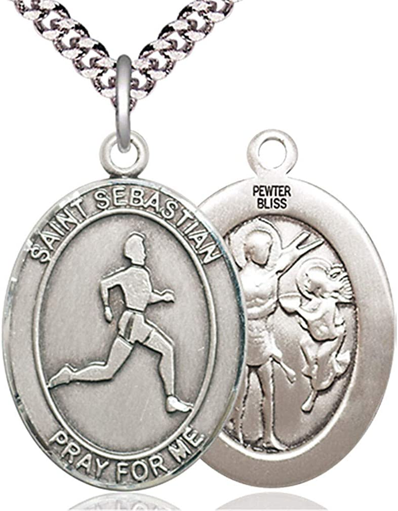 Chain Choice USA Made Heartland Store Mens Pewter Oval Saint Sebastian Track Field Medal
