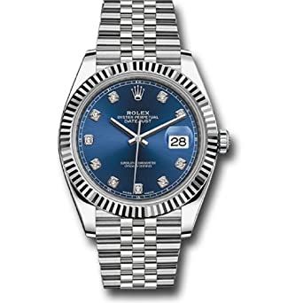 3af04c13131 Amazon.com: ROLEX DATEJUST 41 STEEL AND WHITE GOLD BLUE DIAMOND DIAL  JUBILEE BRACELET 41MM: Watches