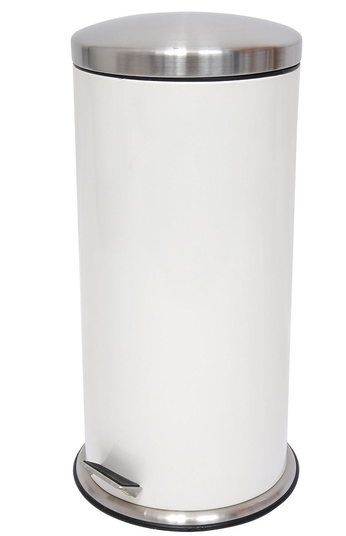 MSV Cubo de basura Acero inoxidable 30 litros Cubo Cubo de basura blanco – Soporte de goma y extra estabilización