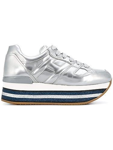 HOGAN DONNA Sneakers Maxi H222 in Pelle Metallizzata Mod.  GYW4070T5481ONB200 Argento 39 bcbe1d81e09