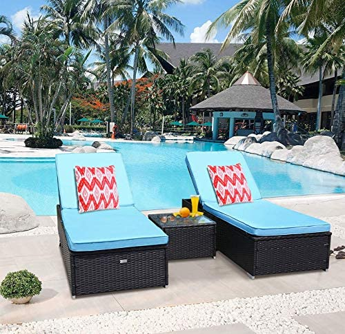 TUSY 2 Pieces Patio Chaise Lounge Set